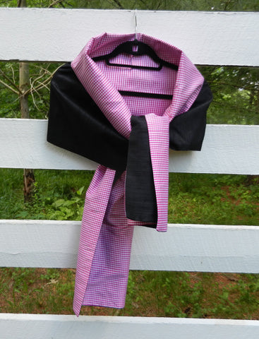 Silk Wrap in Black and Pink Gingham (LW16)