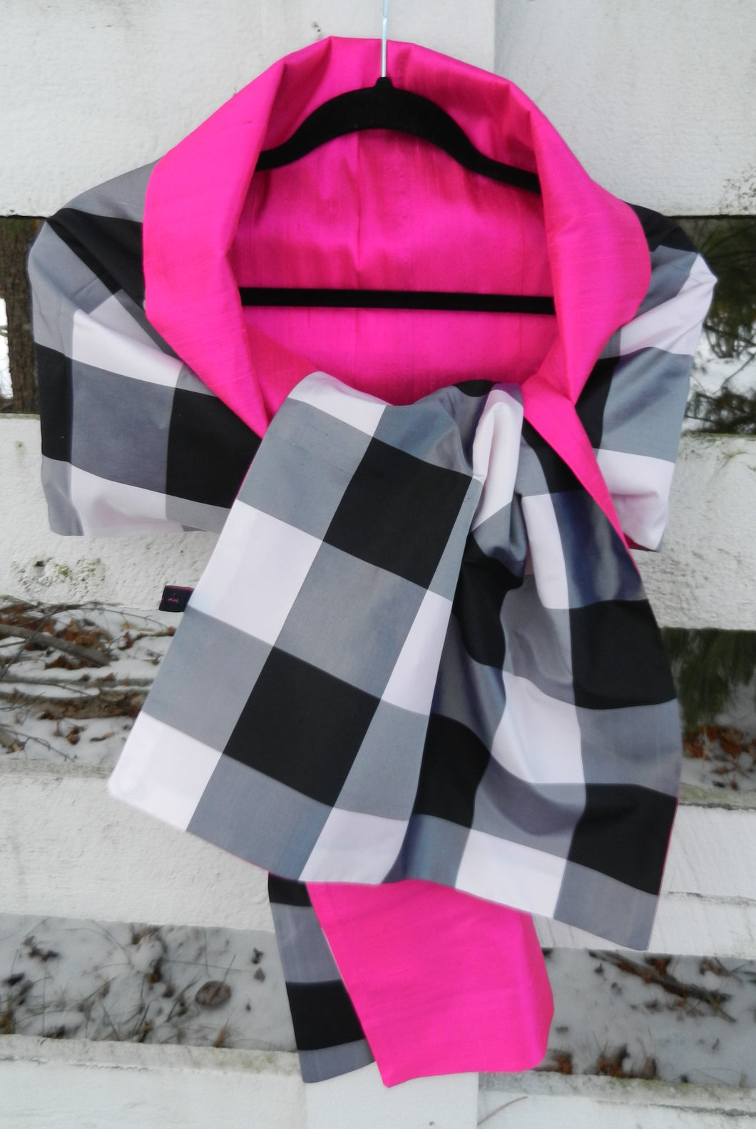 Silk Wrap in Classic Black Check and Pink (LW17)