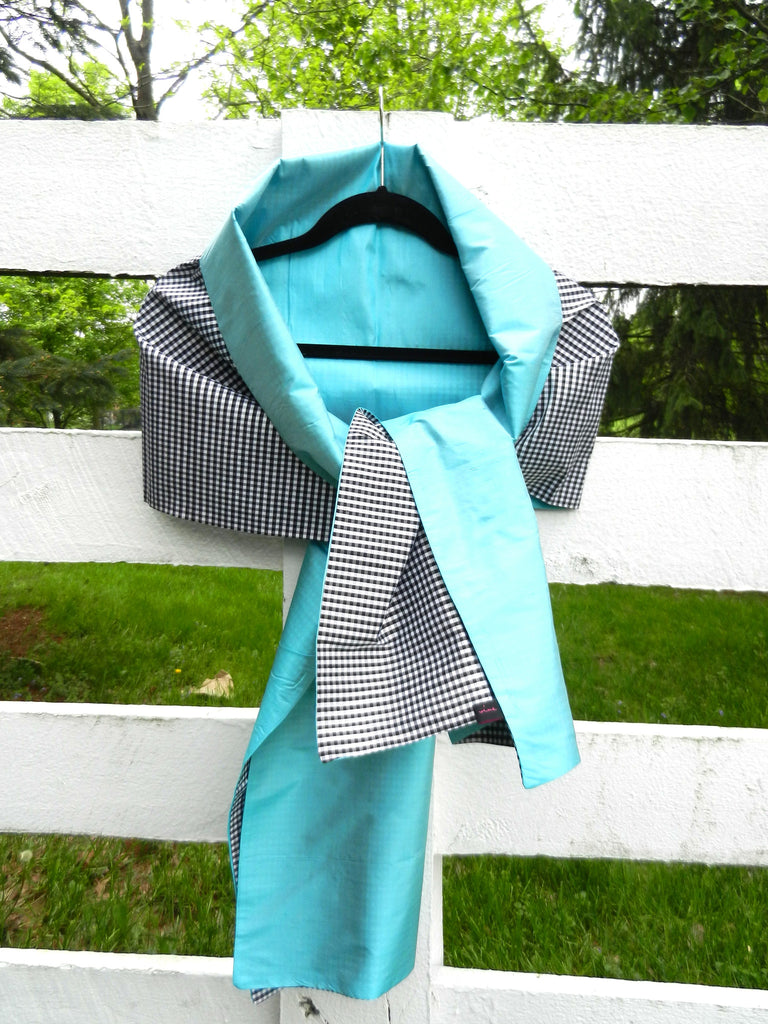 Silk Wrap in Classic Black Check and Turquoise (LW33)