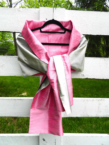 Silk Wrap in Silver and Blush Pink (LW36)