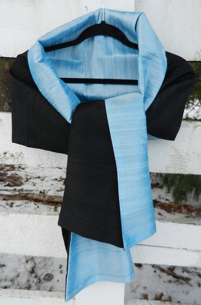 Silk Wrap in Black with Ice Blue(LW52)