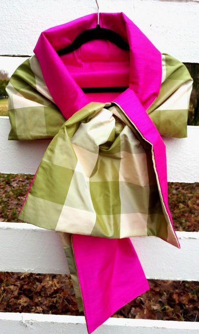 Silk Wrap in Green Ecru Plaid w Hot Pink (LW87)