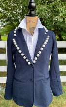 Load image into Gallery viewer, Navy Jacket with White Pom Poms