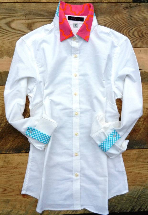 Xl only Oxford Tab White Shirt with Pink/Orange and Blue/White Dot Collar and Sleeve Tab - (OT13)