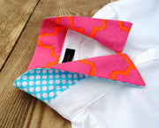 XS, M, Xl only Oxford Tab White Shirt with Pink/Orange and Blue/White Dot Collar and Sleeve Tab - (OT13)