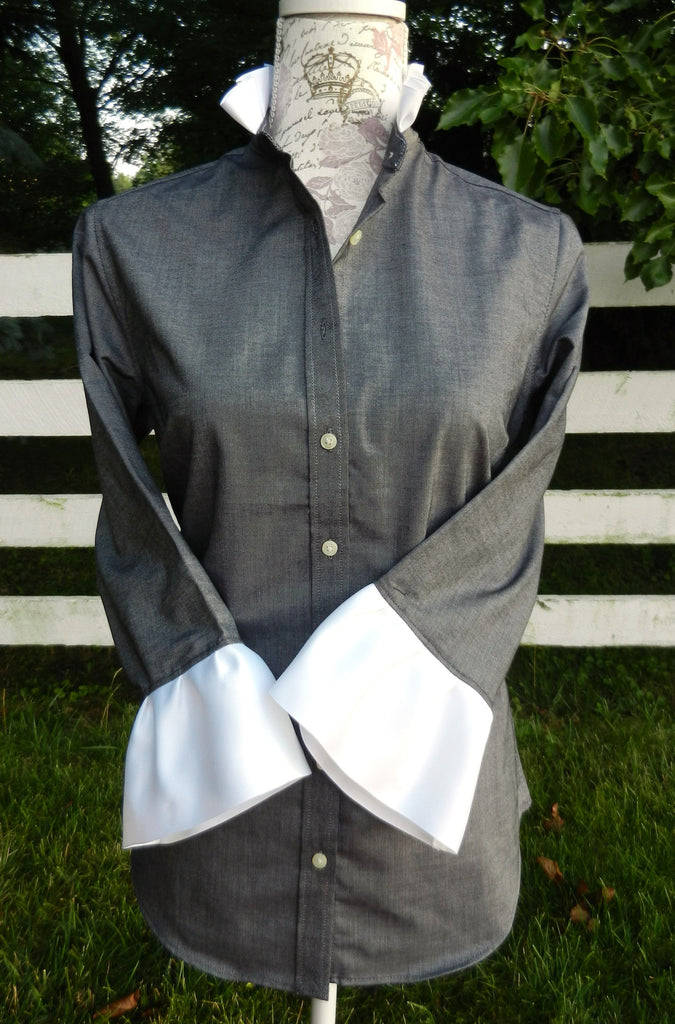 Oxford Black Shirt with White Ribbon (ORBLK-White)