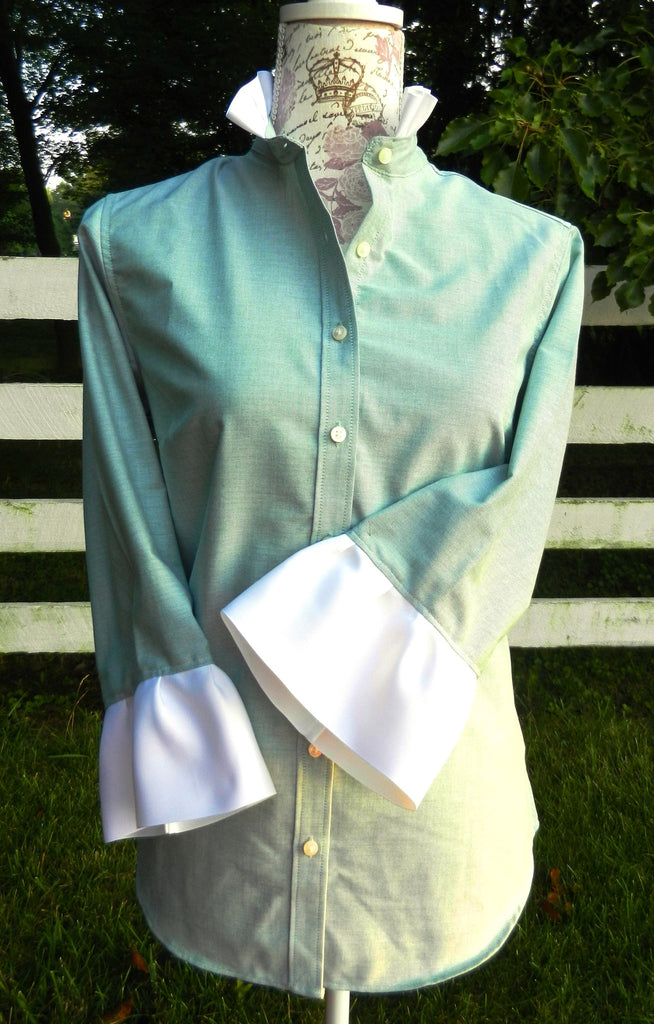 Oxford Green Shirt with White Ribbon (ORG-White)