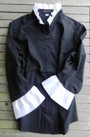 Ribbon Trimmed Black Shirt with White (Poplin Black/White)
