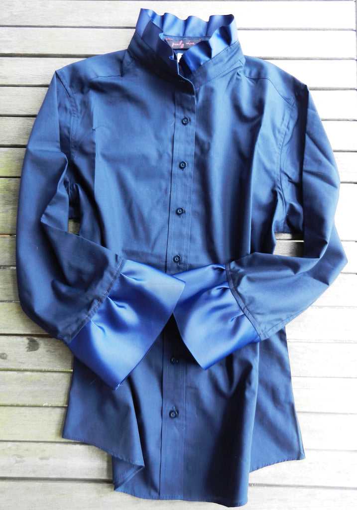 Ribbon Trimmed Navy Shirt with Navy (S34RN-Navy)