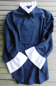 Ribbon Trimmed Navy Shirt with White (Poplin- Navy/White)