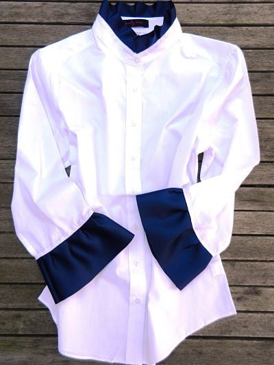XXL ONLY - Ribbon Trim Shirt with Navy (Poplin-White/Navy)