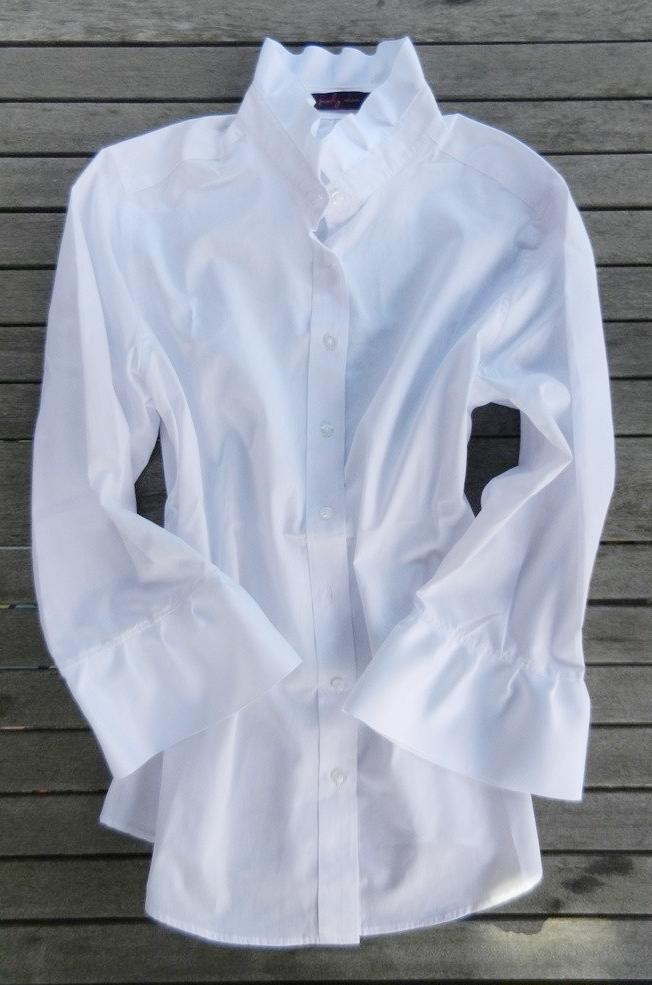 Ribbon Trim Shirt with White