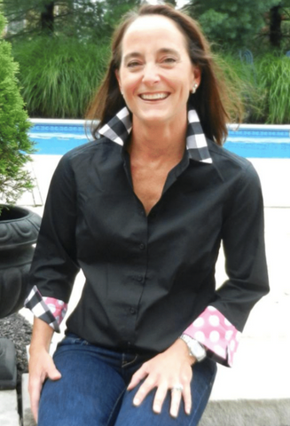 3/4 Sleeve Black Shirt with Pink/Black/White Plaid/Polka Dots (L34S33)