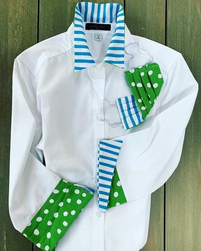 3/4 Sleeve White Shirt with Polka Dot Stripe