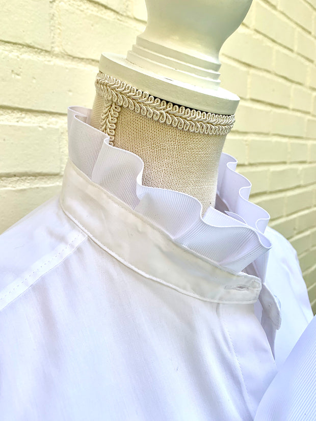 White Long Sleeve Ribbon Shirt