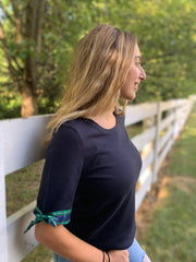 Holiday Short Sleeve Sweater Navy