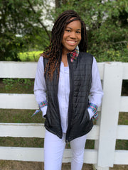 Puffer Vest with Plaid Collar