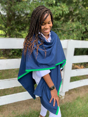 Cotton Cape in Navy with Green Ribbon