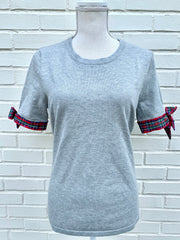 Holiday Short Sleeve Sweater Grey