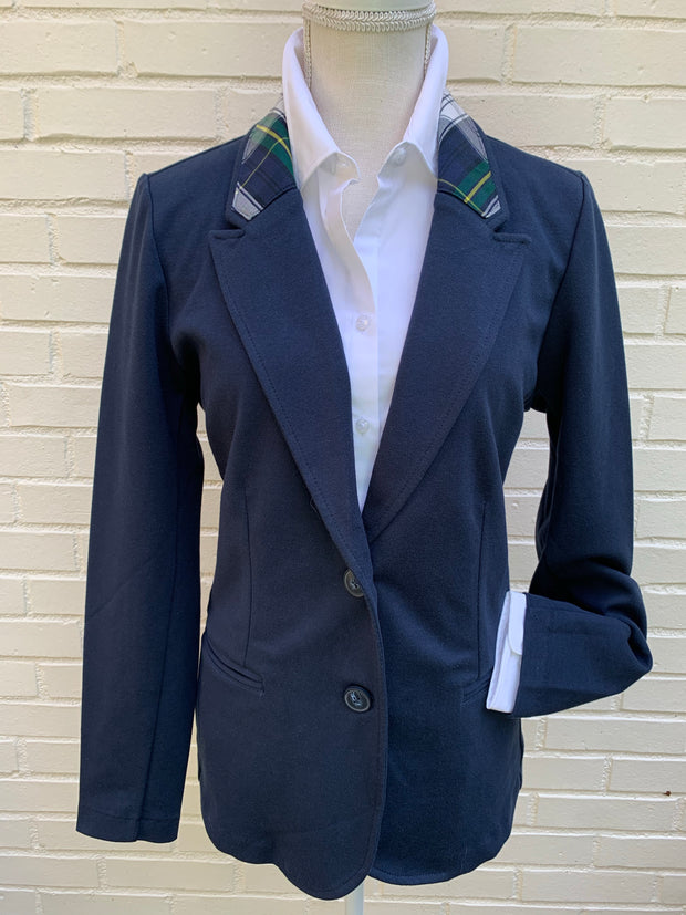 Navy Jacket w Navy Plaid Collar