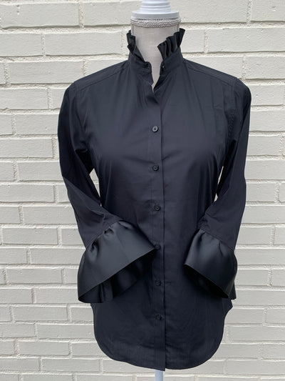 Ribbon Trimmed Black Shirt with Black (Poplin Black/Black)