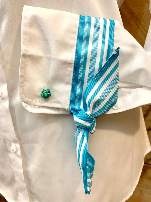 French Cuff w Turquoise Stripe Ribbon Ties (SFC-Turq)
