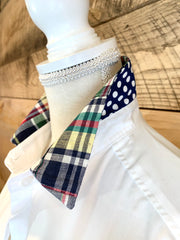 Diana French Cuff w Navy Madras (DFC-04)