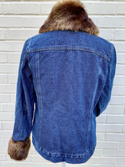 Brown Mink Faux Fur Denim Jacket