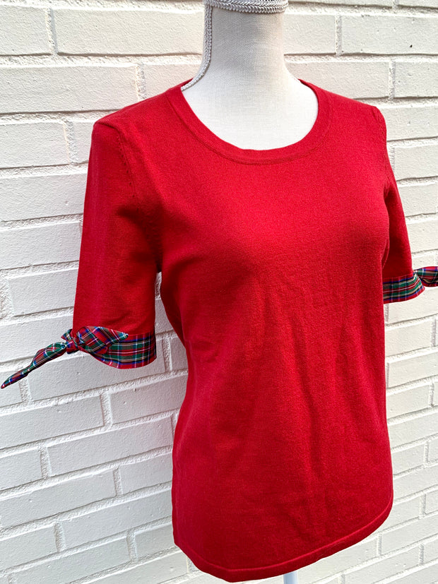 Holiday Short Sleeve Sweater Red