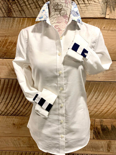 Oxford Tab White Shirt with Toile/ Navy Stripe Collar and Sleeve Tab