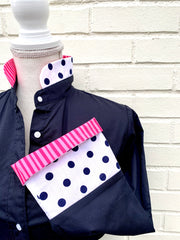 Bell Sleeve- Navy Dot w Pink Stripe