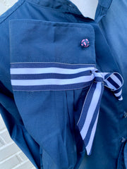 French Cuff w Navy Stripe Ribbon Ties (SFC-Navy)