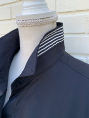 French Cuff w Black Stripe Ribbon Ties (SFC-Blk)