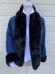 Black Mink Faux Fur Denim Jacket