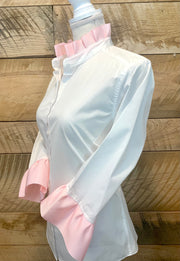 Ribbon Trim Shirt with Blush Pink