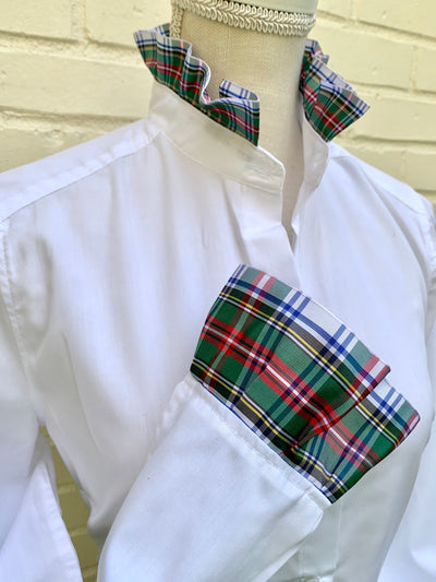White Long Sleeve Plaid Ribbon Shirt - (HR 04)