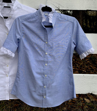 Short Sleeve Eyelet Oxford Blue
