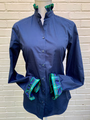 Navy Long Sleeve Plaid Ribbon Shirt - (HR 03)