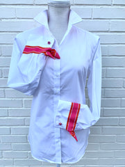French Cuff w Pnk Org Stripe Ribbon Ties (SFC-Org)