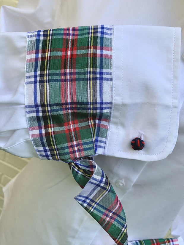 French Cuff White w Plaid Ribbon Ties (HFC-White)