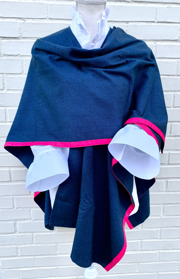 Navy Cape with Pink Ribbon