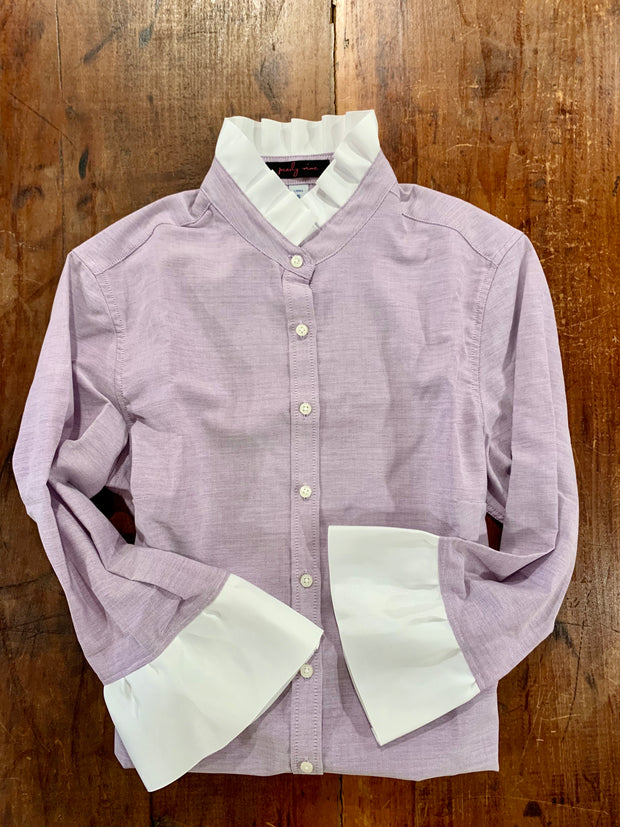 Lavender Oxford Ribbon Trim Shirt