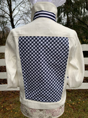 White Denim Jacket w Navy Check (DWJ 05)