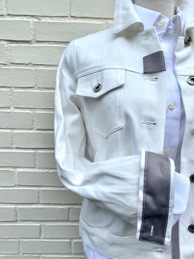 White Denim Jacket w Blue Camo (DWJ 07)