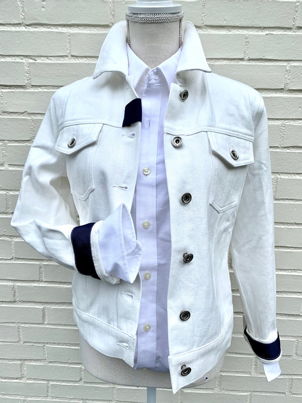 White Denim Jacket w Plaid (DWJ 06)