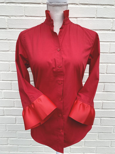 Ribbon Trimmed Red Shirt with Red  (Poplin-Red/Red)