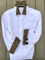 3/4 Sleeve Black Shirt with Cheetah