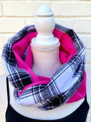 Flannel or Madras and Fleece Infinity Scarf