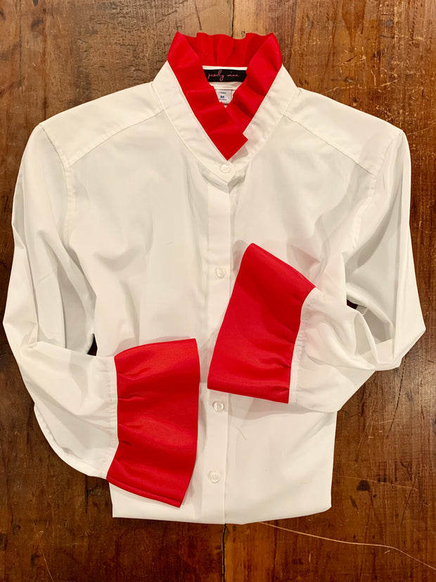 M, L, XL ONLY Ribbon Trim Shirt with Red Ribbon Sleeve