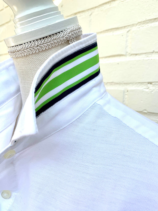 Casie Stripe - White Oxford w Navy Green Ribbon (Casie 02)